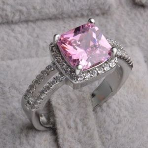 Jewelry - Pink Crystal Halo Sterling Silver Cocktail Ring